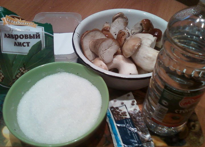 Ингредиенты для засолки белых грибов