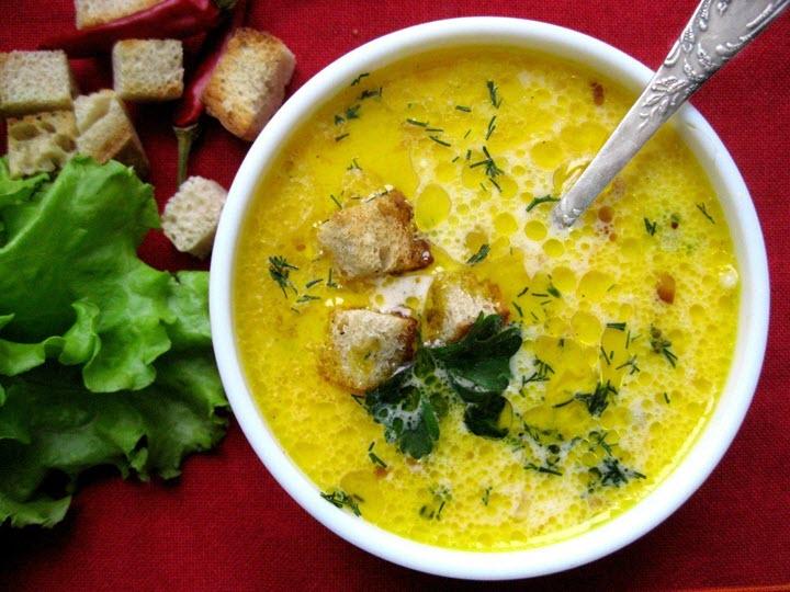 Суп грибной с плавленным сыром