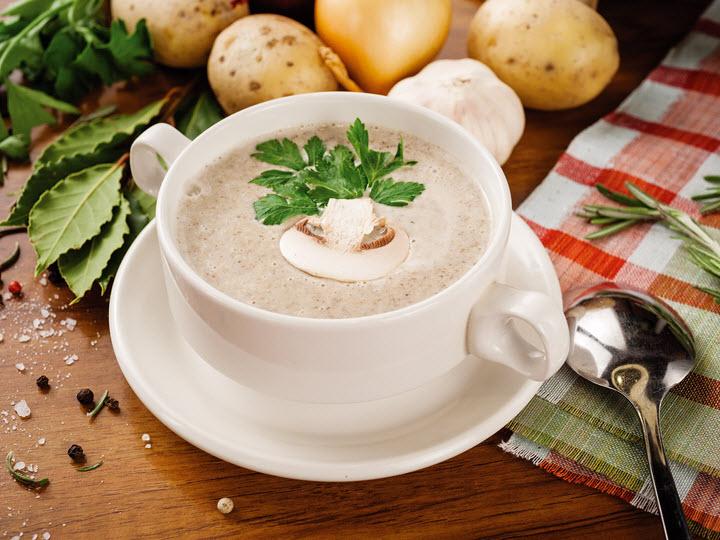 Суп с плавленным сыром и грибами