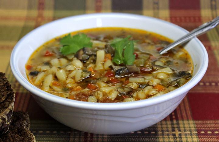 Суп с грибами и с перловкой