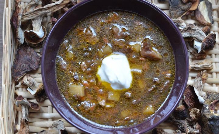 Суп из засушенных белых грибов