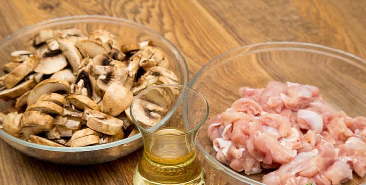Ингредиенты для салата с грибами