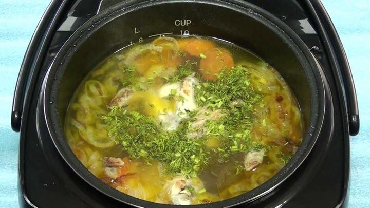 Готовый суп в мультиварке