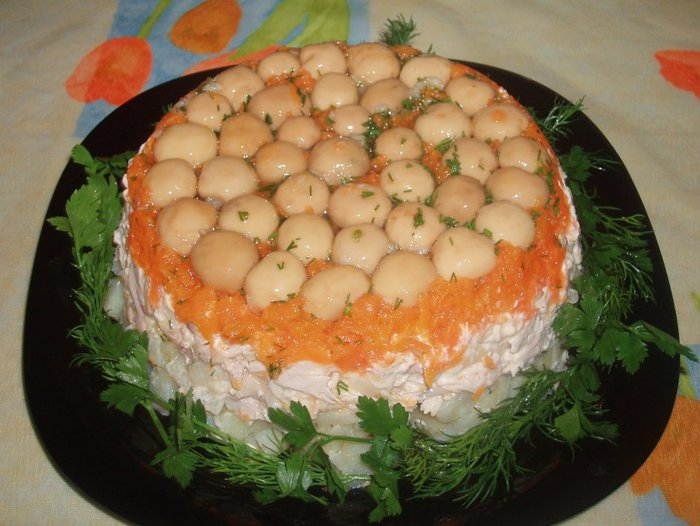 Грибное лукошко, салат