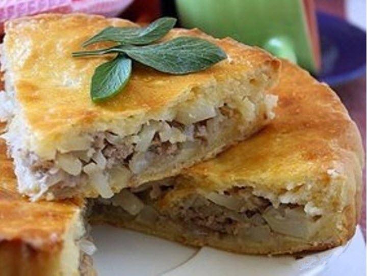 Грибной пирог с мясом