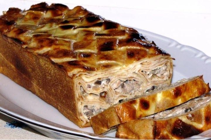 Мясной пирог с грибами