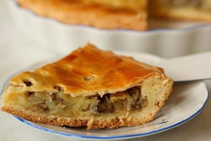 Пирог с картофельно-грибной начинкой