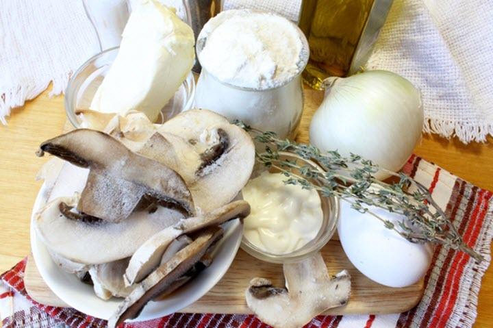 Продукты для сырно-грибного штруделя